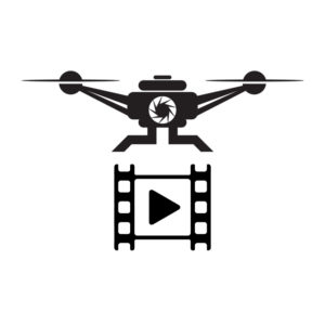 A graphic of a drone and section of camera film